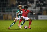 15 October 2021; Walter Figueira of Sligo Rovers in action against Barry Cotter of Shamrock Rovers during the SSE Airtricity League Premier Division match between Shamrock Rovers and Sligo Rovers at Tallaght Stadium in Dublin. Photo by Seb Daly/Sportsfile