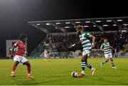 15 October 2021; Barry Cotter of Shamrock Rovers in action against Walter Figueira of Sligo Rovers during the SSE Airtricity League Premier Division match between Shamrock Rovers and Sligo Rovers at Tallaght Stadium in Dublin. Photo by Seb Daly/Sportsfile