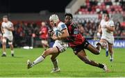 15 October 2021; Mike Lowry of Ulster is tackled by Sibahle Maxwane of Emirates Lions during the United Rugby Championship match between Ulster and Emirates Lions at Kingspan Stadium in Belfast. Photo by Ramsey Cardy/Sportsfile