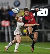 15 October 2021; Megiel Burger Odendaal of Emirates Lions in action against Nathan Doak of Ulster during the United Rugby Championship match between Ulster and Emirates Lions at Kingspan Stadium in Belfast. Photo by Ramsey Cardy/Sportsfile