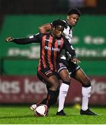 15 October 2021; Roland Idowu of Bohemians in action against Mayowa Animashaun of Dundalk during the SSE Airtricity League Premier Division match between Bohemians and Dundalk at Dalymount Park in Dublin. Photo by Ben McShane/Sportsfile