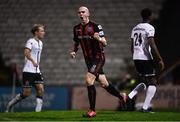 15 October 2021; Georgie Kelly of Bohemians celebrates after scoring his side's first goal, a penalty, during the SSE Airtricity League Premier Division match between Bohemians and Dundalk at Dalymount Park in Dublin. Photo by Ben McShane/Sportsfile