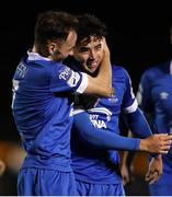 15 October 2021; Phoenix Patterson of Waterford right, celebrates after scoring his side's first goal during the SSE Airtricity League Premier Division match between Waterford and Finn Harps at the RSC in Waterford. Photo by Michael P Ryan/Sportsfile