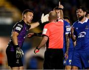 15 October 2021; Brian Murphy of Waterford remonstrates with referee Graham Kelly after he was shown a red card during the SSE Airtricity League Premier Division match between Waterford and Finn Harps at the RSC in Waterford. Photo by Michael P Ryan/Sportsfile