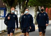 16 October 2021; Leinster players, from left, Ciarán Frawley, Rónan Kelleher and Caelan Doris arrive before the United Rugby Championship match between Leinster and Scarlets at the RDS Arena in Dublin. Photo by Harry Murphy/Sportsfile