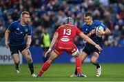 16 October 2021; Jonathan Sexton, left, and Ciarán Frawley of Leinster in action against Jonathan Davies of Scarlets during the United Rugby Championship match between Leinster and Scarlets at the RDS Arena in Dublin. Photo by Ramsey Cardy/Sportsfile