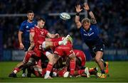 16 October 2021; Gareth Davies of Scarlets executes a box-kick, under pressure from Andrew Porter of Leinster, during the United Rugby Championship match between Leinster and Scarlets at the RDS Arena in Dublin. Photo by Seb Daly/Sportsfile