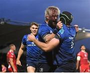 16 October 2021; Caelan Doris of Leinster, right, is congratulated by team-mate Andrew Porter after scoring their side's fourth try during the United Rugby Championship match between Leinster and Scarlets at the RDS Arena in Dublin. Photo by Seb Daly/Sportsfile