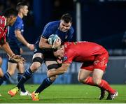 16 October 2021; James Ryan of Leinster is tackled by Ken Owens of Scarlets during the United Rugby Championship match between Leinster and Scarlets at the RDS Arena in Dublin. Photo by Harry Murphy/Sportsfile