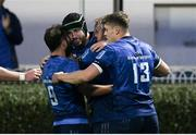 16 October 2021; Caelan Doris of Leinster, second left, celebrates after scoring his side's fourth try with team-mates Jamison Gibson-Park, Andrew Porter and Garry Ringrose of Leinster during the United Rugby Championship match between Leinster and Scarlets at the RDS Arena in Dublin. Photo by Harry Murphy/Sportsfile
