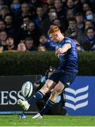 16 October 2021; Ciarán Frawley of Leinster kicks a conversion during the United Rugby Championship match between Leinster and Scarlets at the RDS Arena in Dublin. Photo by Harry Murphy/Sportsfile