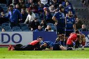 16 October 2021; Ciarán Frawley of Leinster recieves medical treatment during the United Rugby Championship match between Leinster and Scarlets at the RDS Arena in Dublin. Photo by Harry Murphy/Sportsfile