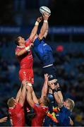16 October 2021; James Ryan of Leinster takes possession in a lineout ahead of Scarlets' Aaron Shingler during the United Rugby Championship match between Leinster and Scarlets at the RDS Arena in Dublin. Photo by Seb Daly/Sportsfile
