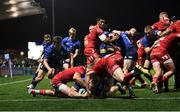 16 October 2021; Dan Sheehan of Leinster scores his side's sixth try during the United Rugby Championship match between Leinster and Scarlets at the RDS Arena in Dublin. Photo by Harry Murphy/Sportsfile