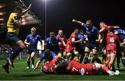 16 October 2021; Ross Molony of Leinster and team-mates celebrate as Dan Sheehan of Leinster scores his side's sixth try during the United Rugby Championship match between Leinster and Scarlets at the RDS Arena in Dublin. Photo by Harry Murphy/Sportsfile