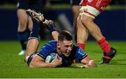 16 October 2021; Dan Sheehan of Leinster dives over to score his side's seventh try during the United Rugby Championship match between Leinster and Scarlets at the RDS Arena in Dublin. Photo by Seb Daly/Sportsfile