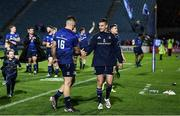 16 October 2021; Jonathan Sexton and Dan Sheehan of Leinster after the United Rugby Championship match between Leinster and Scarlets at the RDS Arena in Dublin. Photo by Harry Murphy/Sportsfile
