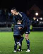 16 October 2021; Jonathan Sexton of Leinster with his son Luca after the United Rugby Championship match between Leinster and Scarlets at the RDS Arena in Dublin. Photo by Harry Murphy/Sportsfile