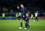 16 October 2021; Jonathan Sexton of Leinster with his daughter Amy after the United Rugby Championship match between Leinster and Scarlets at the RDS Arena in Dublin. Photo by Harry Murphy/Sportsfile