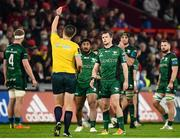 16 October 2021; Jack Carty of Connacht reacts after team-mate Sammy Arnold, not pictured, is shown a yellow card by referee Chris Busby during the United Rugby Championship match between Munster and Connacht at Thomond Park in Limerick. Photo by David Fitzgerald/Sportsfile