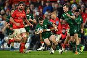 16 October 2021; Caolin Blade of Connacht is tackled by Simon Zebo of Munster during the United Rugby Championship match between Munster and Connacht at Thomond Park in Limerick. Photo by Piaras Ó Mídheach/Sportsfile