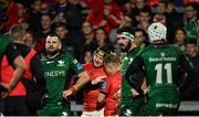 16 October 2021; Chris Cloete of Munster, left, celebrates with team-mate Craig Casey after he scored their side's first try during the United Rugby Championship match between Munster and Connacht at Thomond Park in Limerick. Photo by Piaras Ó Mídheach/Sportsfile