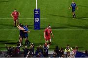 16 October 2021; Dan Sheehan of Leinster, bottom left,is congratulated by team-mates Ryan Baird and Luke McGrath after scoring their side's seventh try side's seventh try during the United Rugby Championship match between Leinster and Scarlets at the RDS Arena in Dublin. Photo by Seb Daly/Sportsfile