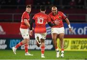 16 October 2021; Simon Zebo of Munster, right, congratulates team-mate Joey Carbery after he kicked the winning conversion during the United Rugby Championship match between Munster and Connacht at Thomond Park in Limerick. Photo by David Fitzgerald/Sportsfile