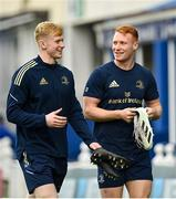16 October 2021; Jamie Osborne, left, and Ciarán Frawley of Leinster before the United Rugby Championship match between Leinster and Scarlets at the RDS Arena in Dublin. Photo by Seb Daly/Sportsfile