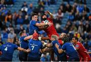 16 October 2021; James Ryan of Leinster and Blade Thomson of Scarlets contest a line-out during the United Rugby Championship match between Leinster and Scarlets at the RDS Arena in Dublin. Photo by Seb Daly/Sportsfile