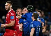 16 October 2021; Dan Sheehan of Leinster is congratulated by team-mate Ryan Baird after scoring their side's seventh try during the United Rugby Championship match between Leinster and Scarlets at the RDS Arena in Dublin. Photo by Seb Daly/Sportsfile