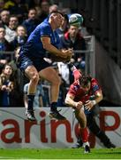 16 October 2021; Dan Sheehan of Leinster in contest for the ball with Ryan Conbeer of Scarlets, before socring his side's seventh try, during the United Rugby Championship match between Leinster and Scarlets at the RDS Arena in Dublin. Photo by Seb Daly/Sportsfile