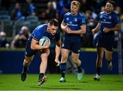16 October 2021; Dan Sheehan of Leinster on his way to scoring his side's seventh try during the United Rugby Championship match between Leinster and Scarlets at the RDS Arena in Dublin. Photo by Seb Daly/Sportsfile