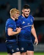 16 October 2021; Tommy O'Brien, left, and Dan Sheehan of Leinster after their side's victory over Scarlets in their United Rugby Championship match at the RDS Arena in Dublin. Photo by Seb Daly/Sportsfile