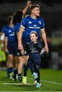 16 October 2021; Amy Sexton, daughter of Leinster's Jonathan Sexton, celebrates her side's victory after the United Rugby Championship match between Leinster and Scarlets at the RDS Arena in Dublin. Photo by Seb Daly/Sportsfile