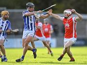 17 October 2021; Con O'Callaghan of Cuala in action against Luke Corcorcan, centre, and Stephen O'Connor of Ballyboden St Enda's during the Go Ahead Dublin County Senior Club Hurling Championship Quarter-Final match between Ballyboden St Enda's and Cuala at Parnell Park in Dublin. Photo by Piaras Ó Mídheach/Sportsfile