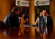 18 October 2021; John Feehan, right, speaks to the media at the National Basketball Arena in Dublin after being announced as the new CEO of Basketball Ireland. Photo by Sam Barnes/Sportsfile