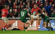 16 October 2021; Simon Zebo of Munster is tackled by John Porch of Connacht during the United Rugby Championship match between Munster and Connacht at Thomond Park in Limerick. Photo by Piaras Ó Mídheach/Sportsfile