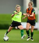 18 October 2021; Leanne Kiernan, left, and Megan Connolly during a Republic of Ireland training session at the FAI National Training Centre in Abbotstown, Dublin. Photo by Stephen McCarthy/Sportsfile