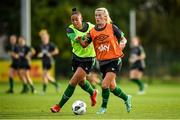 18 October 2021; Savannah McCarthy, right, and Rianna Jarrett during a Republic of Ireland training session at the FAI National Training Centre in Abbotstown, Dublin. Photo by Stephen McCarthy/Sportsfile