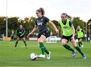 18 October 2021; Leanne Kiernan, left, and Louise Quinn during a Republic of Ireland training session at the FAI National Training Centre in Abbotstown, Dublin. Photo by Stephen McCarthy/Sportsfile