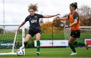 18 October 2021; Leanne Kiernan, left, and Jamie Finn during a Republic of Ireland training session at the FAI National Training Centre in Abbotstown, Dublin. Photo by Stephen McCarthy/Sportsfile