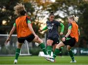 18 October 2021; Rianna Jarrett, centre, Éabha O'Mahony, right, and Leanne Kiernan, left, during a Republic of Ireland training session at the FAI National Training Centre in Abbotstown, Dublin. Photo by Stephen McCarthy/Sportsfile
