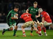 16 October 2021; Jarrad Butler of Connacht in action against Chris Cloete, 7, and Fineen Wycherley of Munster during the United Rugby Championship match between Munster and Connacht at Thomond Park in Limerick. Photo by Piaras Ó Mídheach/Sportsfile