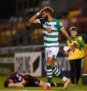 18 October 2021; Barry Cotter of Shamrock Rovers and Rory Feely of Bohemians after a collision during the SSE Airtricity League Premier Division match between Shamrock Rovers and Bohemians at Tallaght Stadium in Dublin. Photo by Stephen McCarthy/Sportsfile