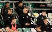 18 October 2021; Bohemians players, from left, goalkeeper James Talbot, Georgie Kelly and Ross Tierney watch on from the stand during the SSE Airtricity League Premier Division match between Shamrock Rovers and Bohemians at Tallaght Stadium in Dublin. Photo by Stephen McCarthy/Sportsfile