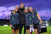 19 October 2021; Players, from left, Savannah McCarthy, Amanda Budden, Denise O'Sullivan and Niamh Farrelly pose for a photograph following a Republic of Ireland training session at the FAI National Training Centre in Abbotstown, Dublin. Photo by Stephen McCarthy/Sportsfile