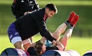19 October 2021; Conor Murray, left, with Chris Cloete during Munster rugby squad training at the University of Limerick in Limerick. Photo by Sam Barnes/Sportsfile