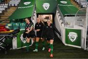 20 October 2021; Players, from left, Niamh Farrelly, Savannah McCarthy and Denise O'Sullivan during a Republic of Ireland training session at Tallaght Stadium in Dublin. Photo by Stephen McCarthy/Sportsfile