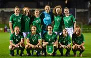 20 October 2021; Republic of Ireland team, back row, from left, Kerryanne Brown, Kate Slevin, Ellen Molloy, Rugile Auskalnyte, Therese Kinnevey and Jessie Stapleton. Front row, from left, Muireann Devaney, Rebecca Watkins, Della Doherty, Aoife Horgan and Shauna Brennan before the UEFA Women's U19 Championship Qualifier match between Republic of Ireland and England at Markets Field in Limerick. Photo by Eóin Noonan/Sportsfile